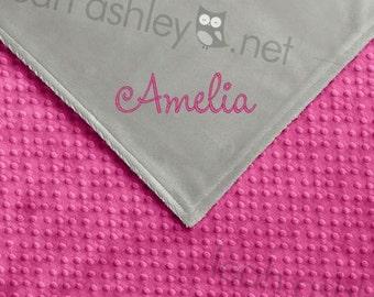 Baby Blanket - Hot Pink MINKY Dot, Gray MINKY Smooth - Harper - BB1