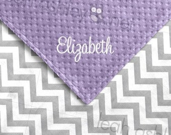 Baby Blanket - Gray Chevron MINKY, Lavender MINKY Dot - Karis - BB1