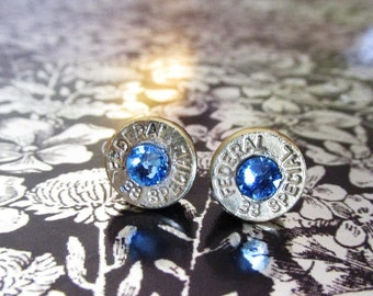 38 Special bullet stud earrings with medium blue rhinestones