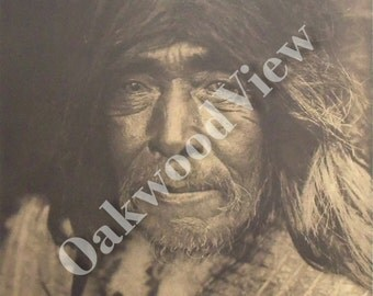 Nootka Man Print by Edward S. Curtis, Native American Indian Portrait, Vintage 14x17 Sepia Book Plate, Tribal Ethnic, FREE SHIPPING