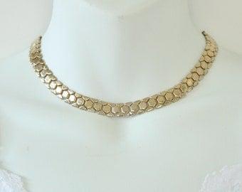 Vintage Signed Reinad Gold Tone Goldtone Flat Geometric Polished Glossy Choker Necklace