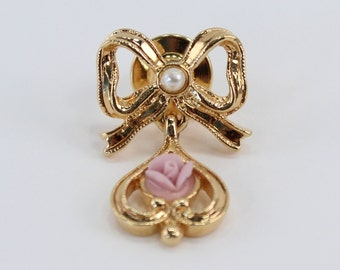 Vintage Signed Avon Goldtone Faux Seed Pearl Ivory Off White Bisque Porcelain Pink Rose Flower Ribbon Bow Dangle Charm Gold Tone Brooch Pin