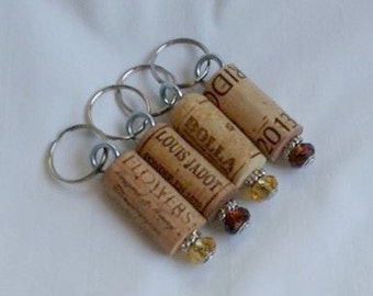 Cork Keychains with beautiful Amber Brown and Golden Yellow Beads