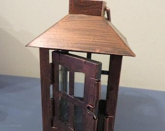 Rustic/Distressed Square Mini Bronze Metallic Lantern table decoration  - wedding reception, centerpiece, favor