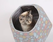 Cat Ball kitty bed - A modern pet bed made in Seattle with gray, turquoise, coral and mustard polka dot cotton fabric