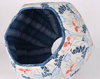 Cat Ball Art Nouveau floral modern cat bed in coral, navy, grey and blue flowers and poppies. Fabric cat cave