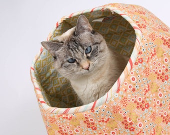 Woodlands Flower and Geometric Cat Ball cat bed - a Modern Cat Bed in made in Riley Blake Fabrics - Made in Washington - Made in USA