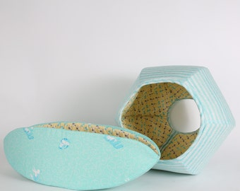 Cat Canoe® and Cat Ball® Cat Bed Matching Set of Cat Beds in Aqua and Yellow