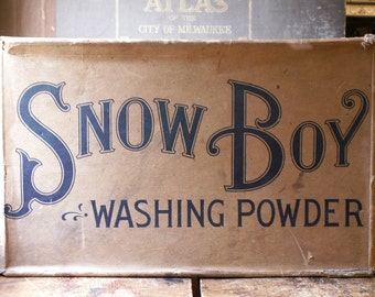 Vintage Snow Boy Washing Powder Box - Great Retro Laundry Room Decor!