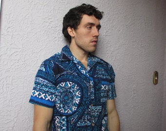 60's Vintage Men's Mod Mandala Barkcloth Shirt sm/med.