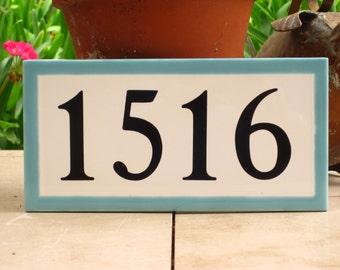 Custom Tile House Number /AQUA Border/White tile/Turquoise