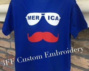 CHILD Red White and Blue Merica Mustache Tee