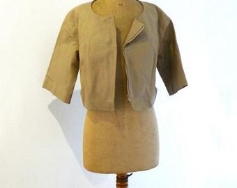 ON SALE Vintage French designer Chloé short camel leather jacket, Paris designer leather biker jacket
