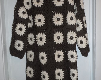 Crochet granny square brown chocolate  ivory  puff stitch flowers  1960-s hippie bohemian coat jacket cardigan  OOAK
