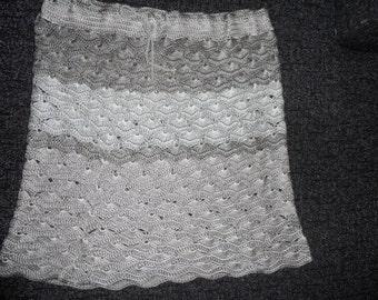 Crochet pale green beige striped  shell pattern  womens girls  skirt OOAK