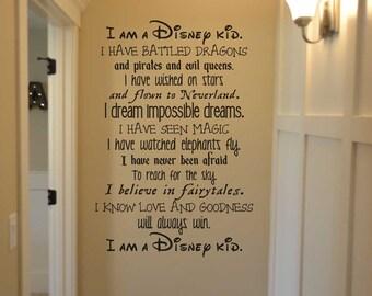 I am a disney kid TF100 vinyl wall lettering sticker decal home decor Walt Disney we do Disney