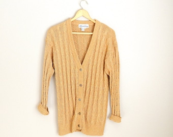 Vintage 80s Golden Tan Shimmery SILK Sparkle Sweater Slouchy Cardigan // oversize cardigan~ womens large