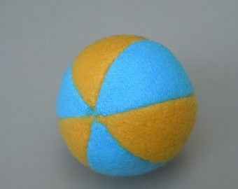 Catnip Ball Cat Toy Yellow and Bright Blue Fleece