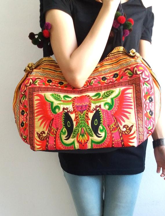 Ethnic Hobo Boho Asian Embroidered Thai Tote Shoulder Hmong Messenger HandBag