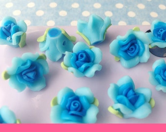 5pcs diy polymer clay flower rose cabochon 15x14mm flatback blue
