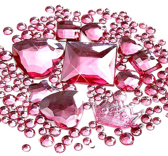 500 pcs Mix Shaped Faceted Pink Crown Heart Rhinestone/Gems Sets (2mm~5mm) FD02