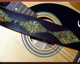 GREEN LEAVES MANDALA Guitar Strap • A Simple and Beautifully Hand Dyed, Hand Crafted Leather Guitar Strap