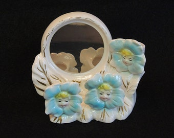Rare Anthropomorphic 1950s-60s Ceramic Lipstick Holder & Mirror.. Cute Flowers With Faces