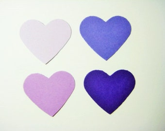 100 Mixed Purple Heart embellishments punch die cut scrapbooking E1669