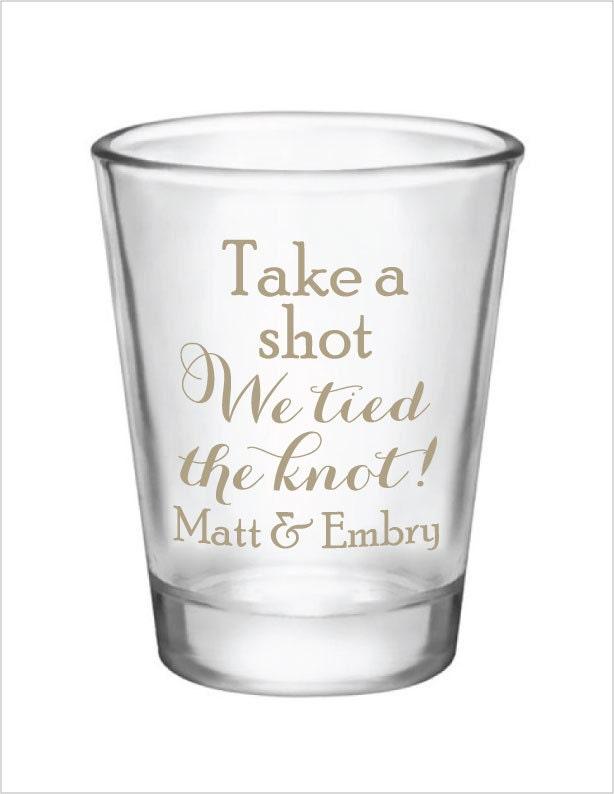 144 Custom 1.75oz Wedding Favor Glass Shot Glasses