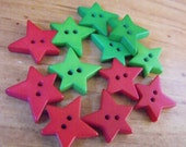 """12 Red and Green Star Buttons Size 1/2"""""""