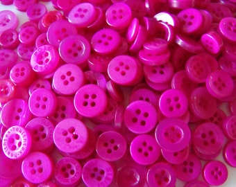 Magenta Buttons, 50 Small Assorted Round Sewing Crafting Bulk Buttons