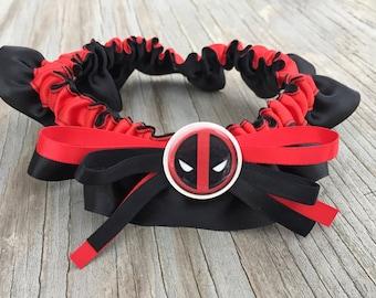 SEXY Deadpool Character Red & Black Bridal Satin Wedding Keepsake Or Garter SET