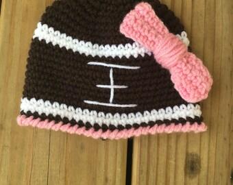 Football hat - girl football hat - football hat with bow - football beanie - girl football beanie - free shipping - vegan - girly hat