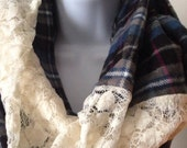 Soft Flannel and Lace Infinity Scarf