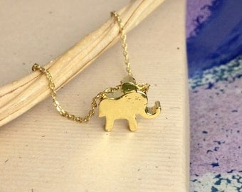 Elephant charm necklace, gold vermeil, lucky elephant, simple inspirational jewelry, animal lover, N210