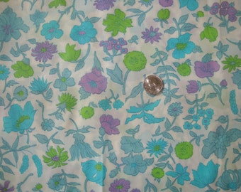 Silky Blue & Green Floral Print Fabric, 1960-70