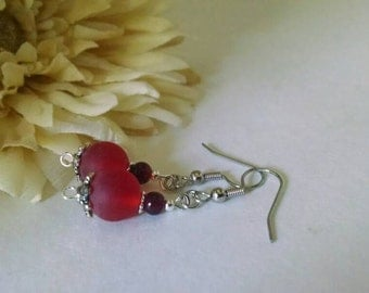 Renaissance Red Earrings, Red Coral Earrings, Scarlet Red Earrings, Artisan, Renfaire Earrings, Red Beaded, Czech Glass Jewelry, Valentines