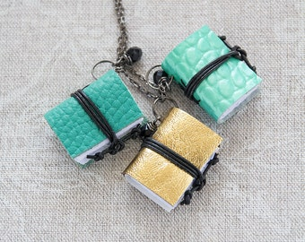 MINT GOLD Mini book necklace, tiny book pendant, spring jewelry, miniature book jewelry, journal necklace, leather literature necklace