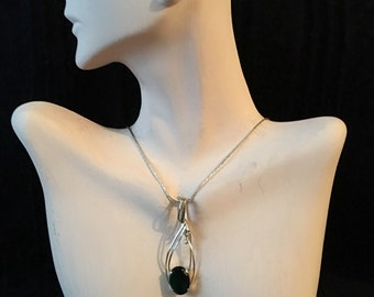 Oval Emerald Free Form Sterling Silver Wire Wrapped Pendant