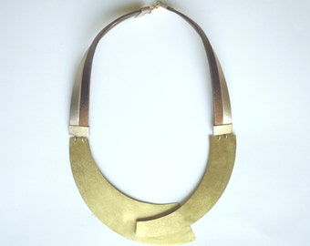 Handmade Necklace, Brass, Leather