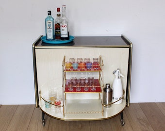 Vintage Retro 1960s Drinks Cabinet- Formica Wood Effect - Cocktail Bar