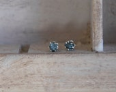 Natural blue-raw rough uncut diamond - solitaire-promise- post back earrings- one of a kind-sterling silver-valentine's day gift