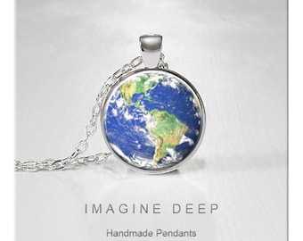 BUY 2 GET 1 FREE Earth Pendant Necklace Blue Planet High Quality Handmade Silver Copper Pendant - Awesome Earth - South America (137)