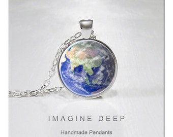 BUY 2 GET 1 FREE Earth Pendant Necklace Beautiful Blue Planet High Quality Handmade Silver Copper Pendant - Awesome Earth - Asia (142)