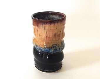 Tumber, Cup, Beer Glass, Juice Cup, Tall Handmade Pottery, Black and Mocha Cream
