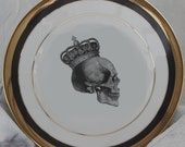 Black and Gold Skull Dishes - Foodsafe, PAYMENT PLANS AVAILABLE, Skeleton Halloween Plates, Skull Dinnerware, Goth Tableware, Skull China