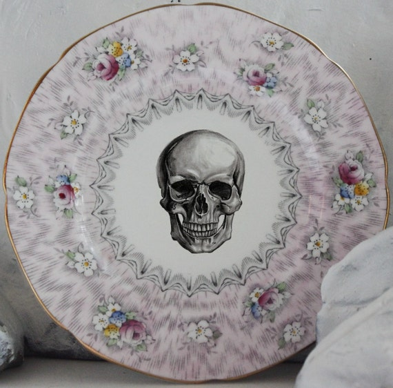 CLOSEOUT - 6  Skull Dessert Plate Goth Snack Plate Pink Roses Skeleton & CLOSEOUT - 6