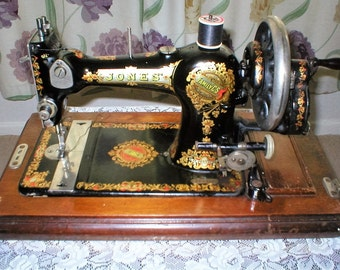 Antique-Jones-Family-CS-Sewing-Machine-and-Case-Collection-only-WF13-Dewsbury area