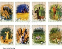 Worldwide Deer Swirly Paintings Art II - 2.5x3.5 inch ATC Cards, ACEO, Gift Tags, Jewelry Earrings Card Holders,  Arts & Crafts