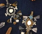 Neutral Small Swag, Mirrored Bells Camel Pom Pom, Tassel, Pendant, Decor, Boho Fall Fashion Design, Decor, Keychain, Gift for Her, 1 Piece